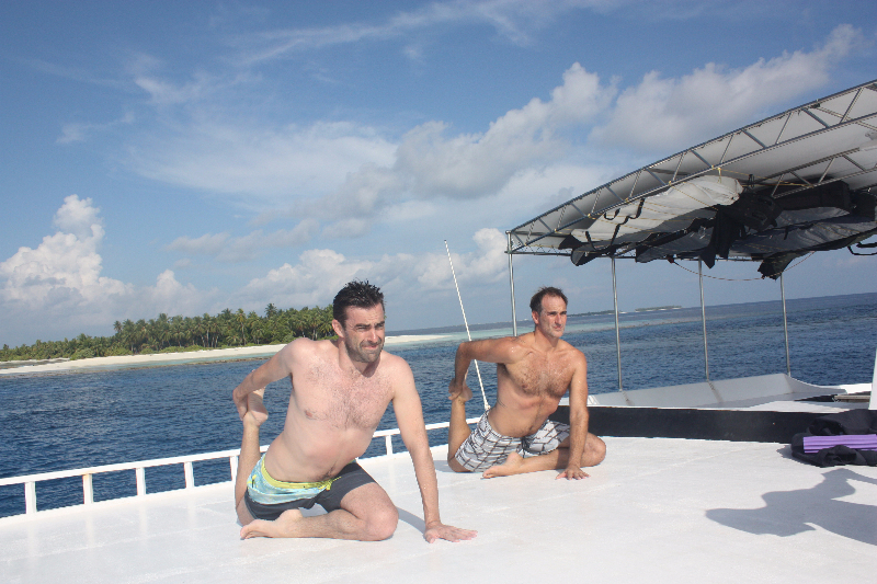 Nathan Frank stretching flow Maldives